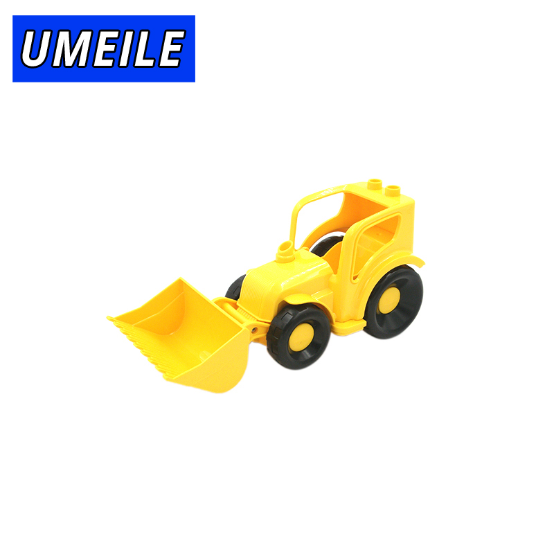 UMEILE Brand Original City Engineering Fork Machine Arth Scraper Model Big Building Block Baby Toys Gift Compatible with Duplo