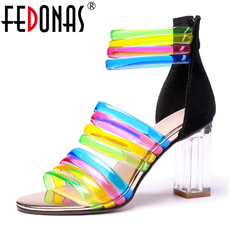 FEDONAS New Sexy Women High Heels Summer Sandals Fashion Brand Colorful Party Wedding Shoes Woman Sexy