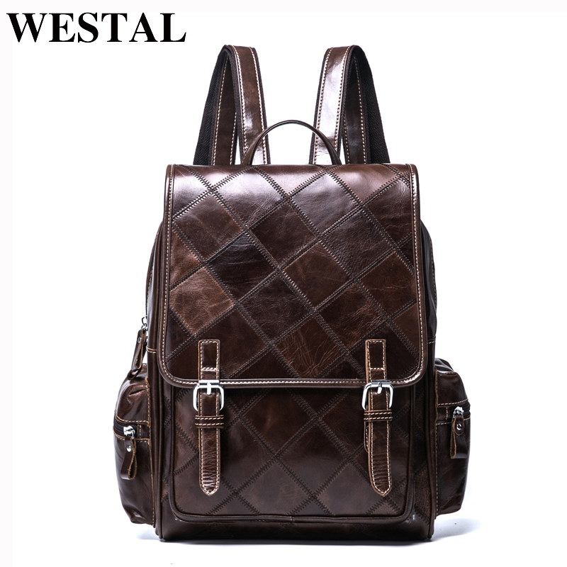 WESTAL Plaid Women Backpack Genuine Leather Backpack for Girls Female Travel Backpacks School Bags Leather Laptop