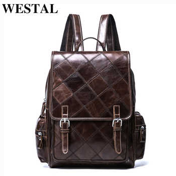 WESTAL Plaid Women Backpack Genuine Leather Backpack for Girls Female Travel Backpacks School Bags Leather Laptop Backpacks - DISCOUNT ITEM  42% OFF All Category