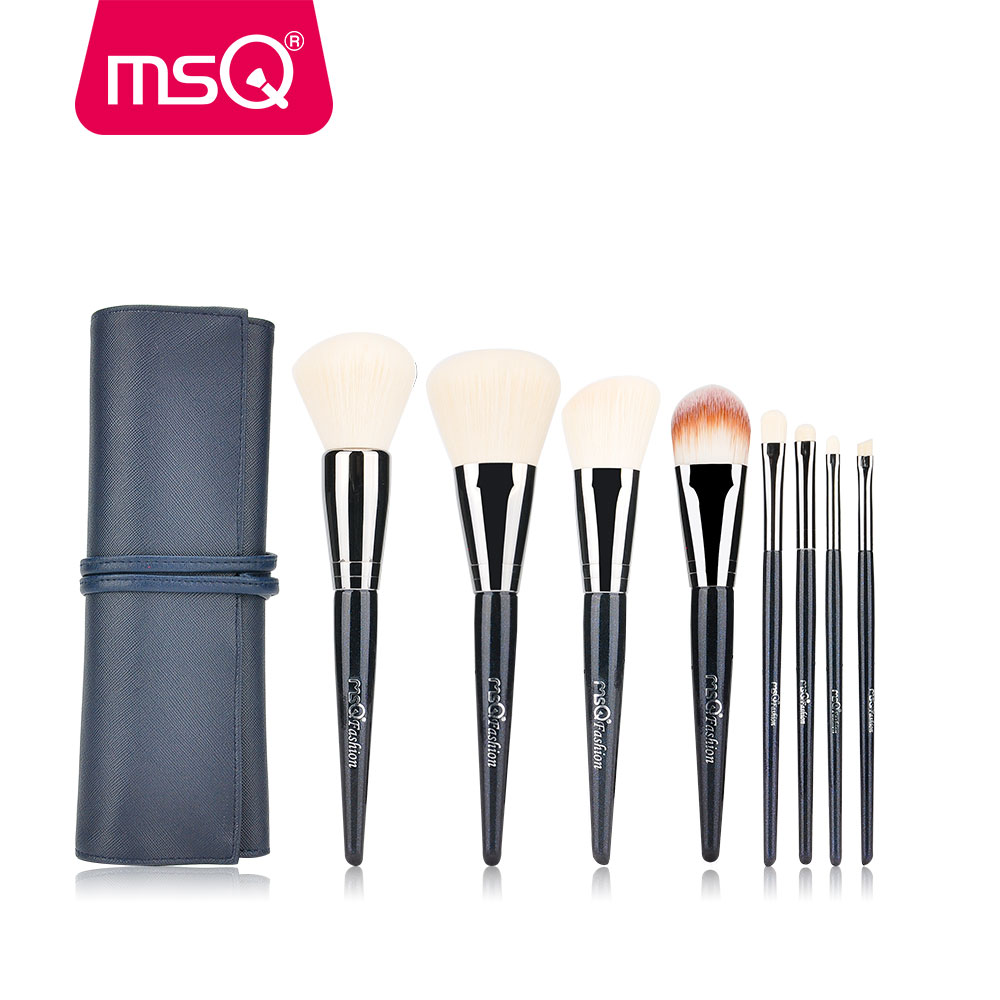 MSQ 8pcs Makeup Brushes Set Powder Foundation Make Up Brush Eye Shadow Lip Cosmetics Tool Thicker Copper With PU Leather Case 24pcs makeup brushes set cosmetic make up tools set fan foundation powder brush eyeliner brushes leather case with pink puff