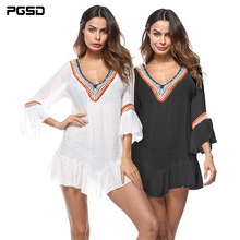 PGSD New Spring Summer Women Clothes Ethnic style Butterfly Sleeves V-Neck Knitted hook stitching Tee shirt female Smock T-shirt цена 2017