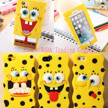 New 3D Cartoon SpongeBob Soft Silicon Case Back Cover Skin Bikini Bottom Boat Phone Bags For iphone 7  4 4S 5 5S SE 6 6S 7 Plus