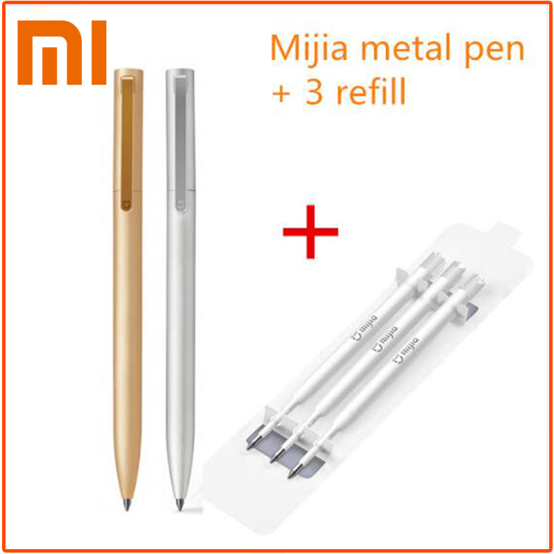 Original Xiaomi Sign Pens Mijia Metal Ballpoint pen PREMEC Smooth Switzerland Refill 0.5mm Japan Black Ink Signing Pens original xiaomi mijia sign pens 9 5mm signing pens premec smooth switzerland refill mikuni japan ink add pens black blue refill
