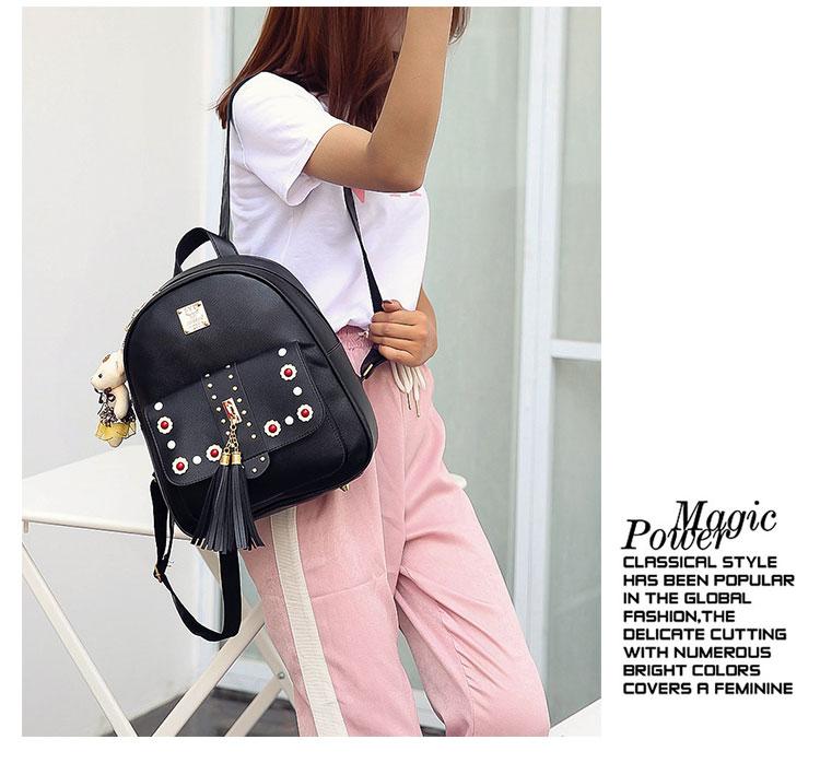 Backpack Female 3 Piece Combination Composite Bag Bear Hanging Inlaid Imitation Diamond Tassel Fashion Casual Shoulder Bag 57