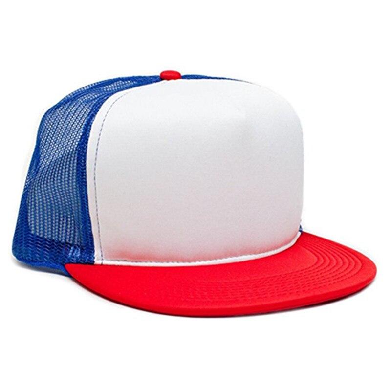 63642f9f26d Dustin Hat Stranger Things Cap Summer Baseball Mesh Cap Adjustable Snapback  Strap Net Trucker Hat Cap Unisex Cosplay Coser