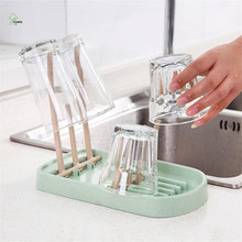 YI HONG Wheat straw cup holder kitchen shelf plastic cup glass storage rack Drain rack A1223c