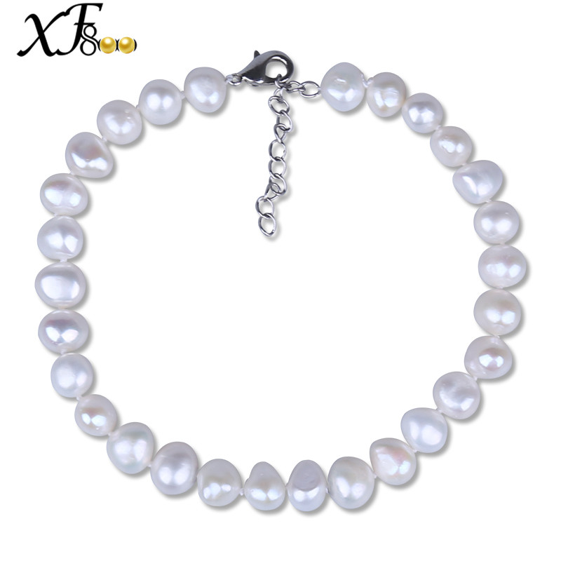 [XF800] Baroque Pearl Anklets Natural Pearl Jewelry Extended Fashion 8-9mm Pearl Trendy Gift For Women Party[F209]
