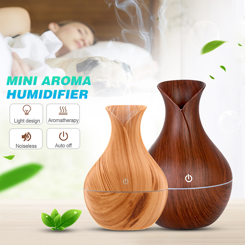 JUNEJOUR 130ml USB Electric  Air Wood Ultrasonic Humidifier Essential Oil Aromatherapy Cool Mist Maker
