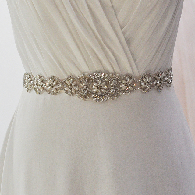 TOPQUEEN S161 Free shipping Stock 100% pure handmade Rhinestone wedding sash and bridal belts