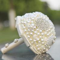 AYiCuthia Luxurious Pearls Brooch Unique Weddings Bridal Bouquet Bride Holding Flowers Wedding Flowers Beads Wedding Bouquet