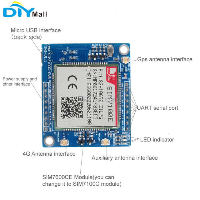 US $80 94 |EU Network SIM7100E 4G Module Development Board + Antenna for  Arduino Raspberry Pi Android Linux Windows-in Home Automation Modules from