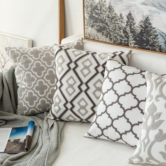 Complementi Arredo Casa Emboridered Fodere per Cuscini GreyGeometric Tela di Cot