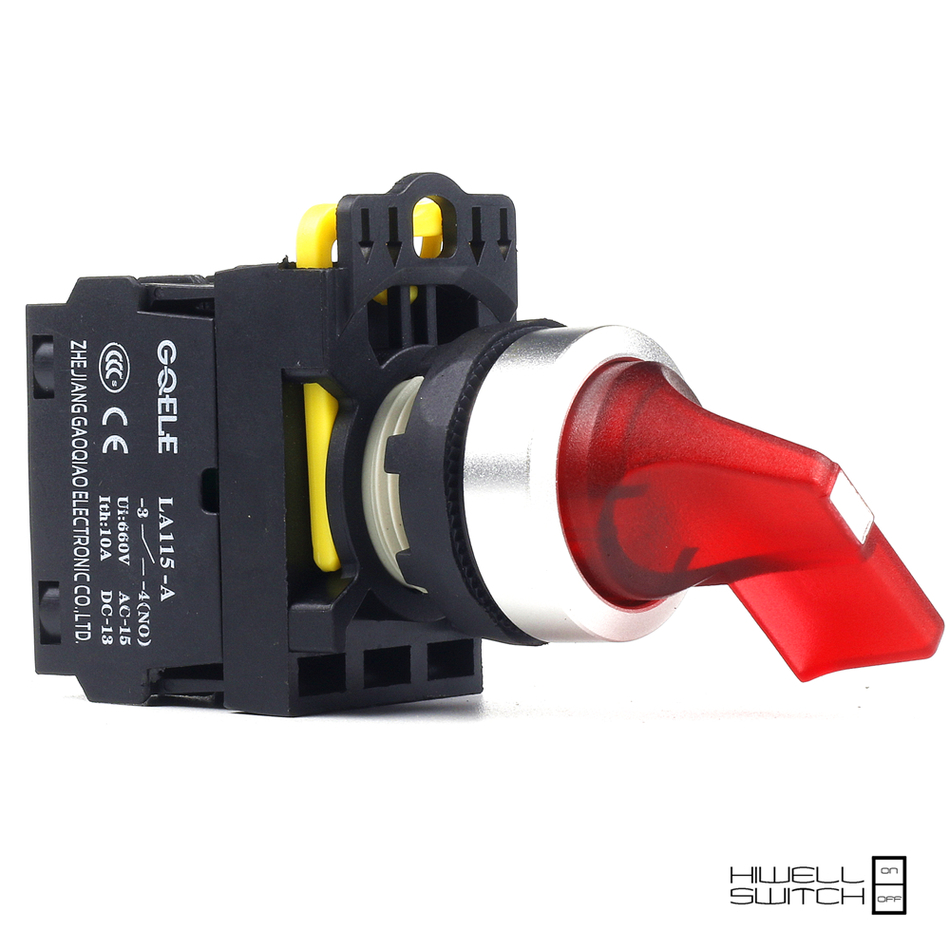 5 PCS Push button switch Selector switch Short handle 2-Position LED Latching IP65 1NO 1NC 1NO+1NC 2NO 2NC LA115-A2-11CXD-R31 1 no 1 nc three 3 positon rotary selector select switch latching 22mm