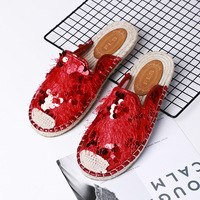 2018 summer new sequins straw linen flat shoes women casual breathable leisure half slippers.
