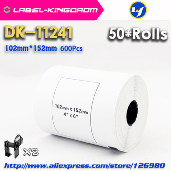50 Refill Rolls Brother Compatible DK-11241 Label 102mm*152mm 200Pcs/Roll for Brother Label Printer White Color DK1241