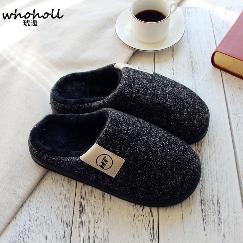 Cotton Plush Slippers Men Indoor Floor Flat Shoes Men Shoes Winter Slippers Soft Slippers Non-slip Home Furry Shoes Slippers floor