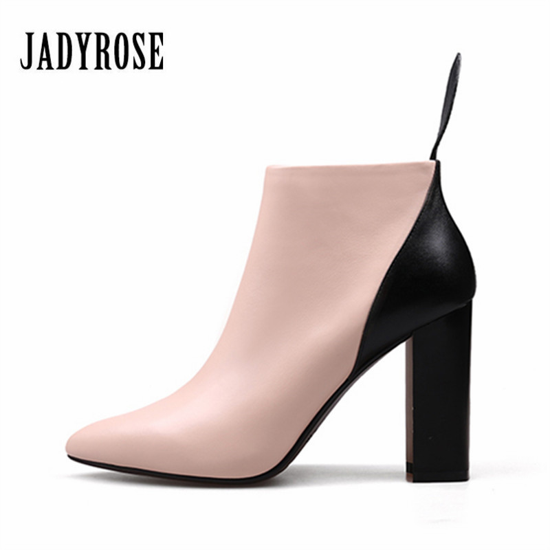Jady Rose Genuine Leather Sexy Women Ankle Boots for Autumn Pointed Toe 9CM High Heel Botas Mujer Female Fashion Chelsea Boot czrbt genuine leather boots women fashion pointed toe thick heel high heel boots spring autumn cow leather women chelsea boots