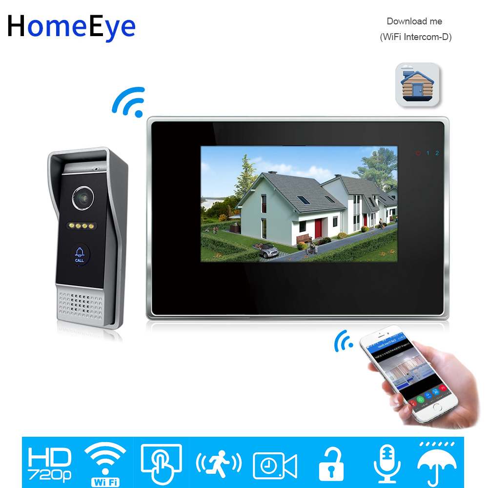 HomeEye 7inch 720P WiFi IP Video Door Phone Video Intercom Home Access Control System Android IOS App Remote Unlock Touch Screen
