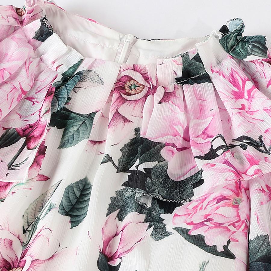 AELESEEN piwonia wydrukowano letnia sukienka luksusowe Runway 2019 wysokiej jakości moda Flare rękawem kwiat Ruffles pas elegancka sukienka w Suknie od Odzież damska na  Grupa 3