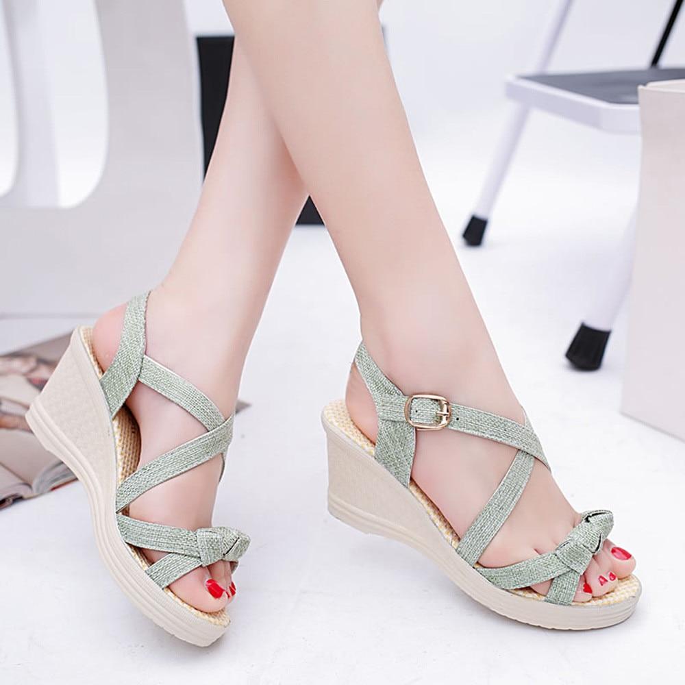 Sandals shoes summer - 2017 New Women Shoes Summer Sandals Casual Peep Toe Platform Wedges Sandals Shoes Comfortable Sandalias De