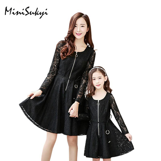 Family look 2017 fashion red black color long lace sleeve & lace cover mom and daughter dress mother daughter dresses