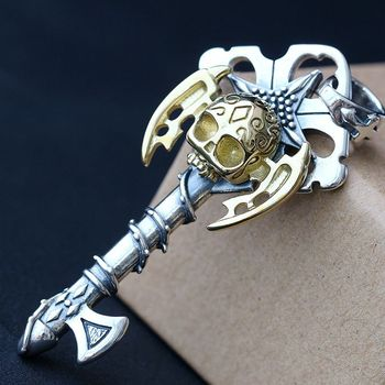 silver wholesale 925 sterling silver pendant by hand Personality non-mainstream skeleton male money Thai silver pendant