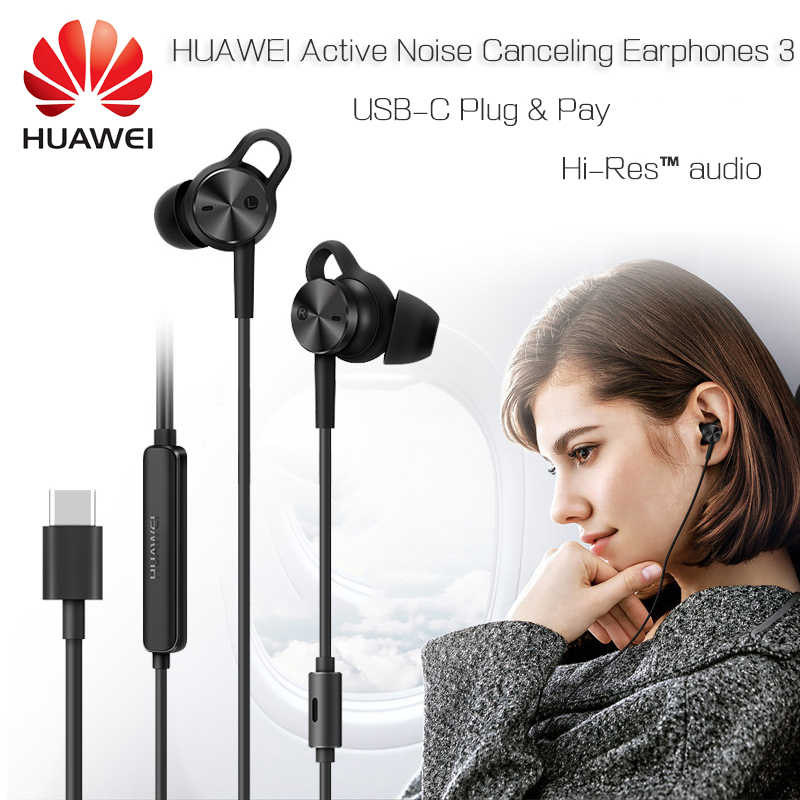 Original Huawei ANC 3 Earphones 3 Mode Active Noise Canceling Hi-Res Quality Music Type-C For P20 Pro Mate 10 Pro P10 Honor V10