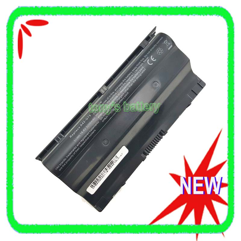 8 Cell Battery for ASUS G75 G75V G75VW G75VW-TS71 G75VW-TH71 G75VX G75VM 3D 90-N2V1B1000Y A42-G75 5200mAh laptop keyboard for asus g75 g75vw g75vx g75vm v126262ck2 fr france black with gray frame and back light