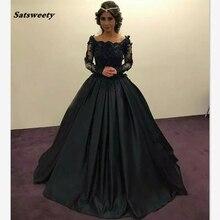 Изящный черный мать невесты Платья с длинными рукавами Sheer кружева бисером совок рюшами бальное платье формальные Пром