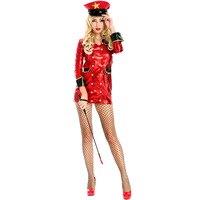Yetişkin Bayan Seksi Kırmızı Polis Mini Elbise Cop Cosplay Taklit Deri Cadılar Bayramı Kostüm