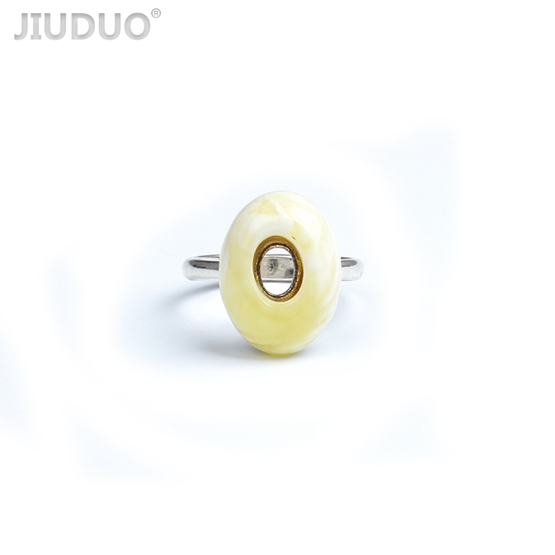 JIUDUO Rings Exclusive design of natural Baltic amber beeswax Rings female 925 silver inlay to support the re-examination