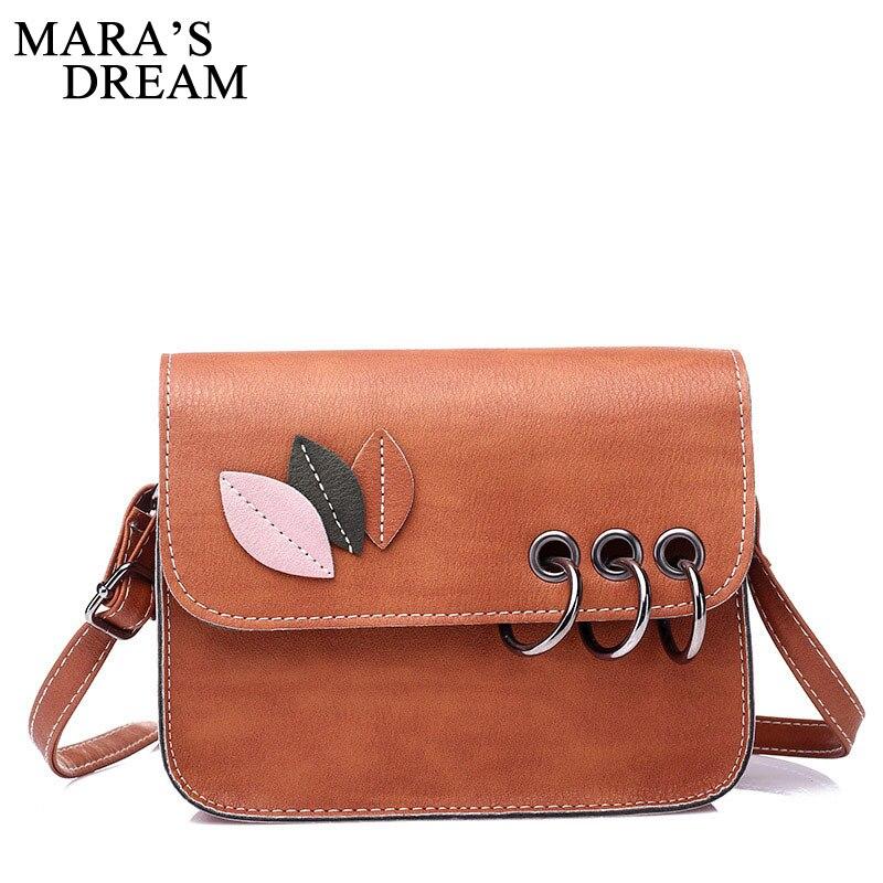 Mara's Dream 2018 Fashion Leaves Decorated Mini Flap Bag PU Leather Small Women Shoulder Bag Messenger Bag Autumn New Arrival