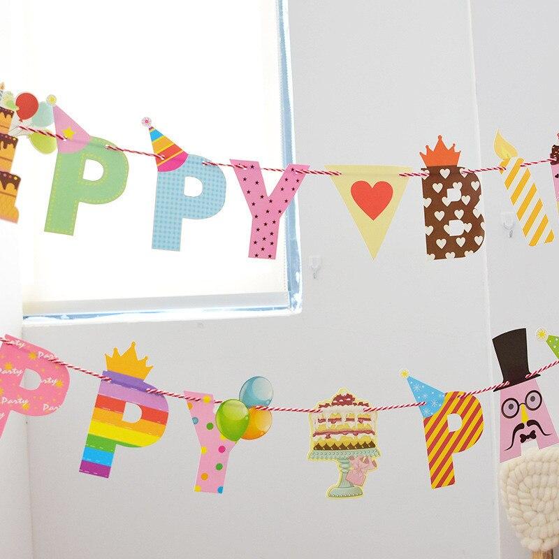 Happy Birthday Letters Flag Fête Bannière Fête DECORATION