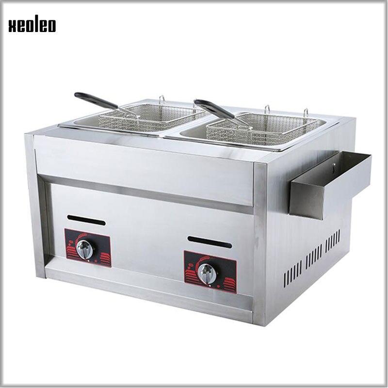XEOLEO Friteuse En Acier Inoxydable Multi-fonction Commerciale Friteuse 12L Double Cylindre Double Écran Gaz Friteuse Frit Poulet 2*4000 W
