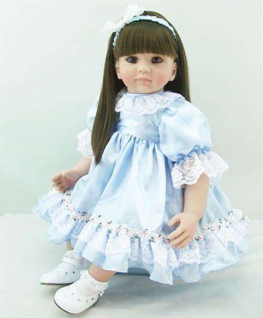 60cm Silicone Reborn Baby Doll Toys Like Real 24inch Vinyl Princess Long Hair Toddler Girl Babies