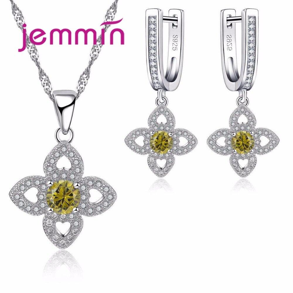 2019 Mode Jemmin Weihnachten Party Schmuck Geschenk Kreuz Form Sterling Silber 925 Anhänger Halsketten Ohrringe Set Für Hochzeit Engagement