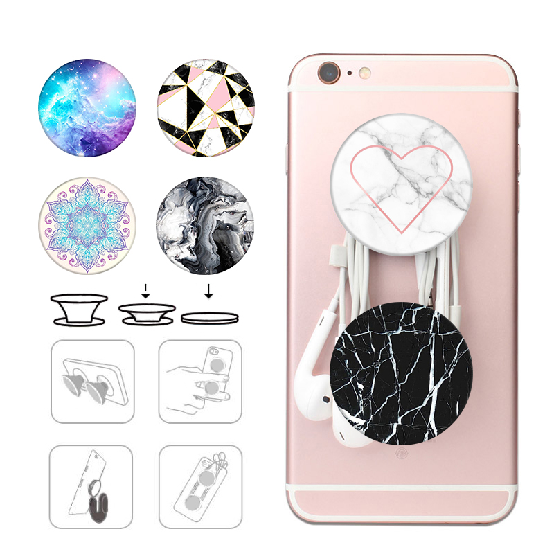 Black And White Popsoket Stone Pocket Socket Phone Holder Round Pops Popsocet Collapsible Stand Pipsocket Marble Grip попсокет