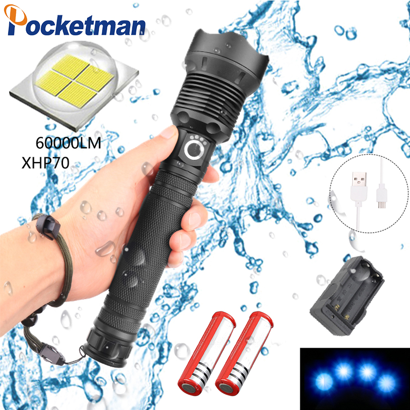 2019 <font><b>60000LM</b></font> Super Bright XHP70 <font><b>LED</b></font> Flashlight Waterproof Zoomable Power Displayer 3 Modes Aluminum Alloy with USB Charging z45 image