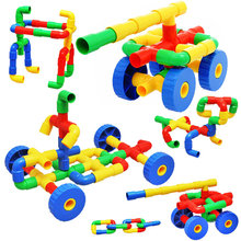 Plastic Tube Pipeline Building Blocks with 4 Wheels Kids Kindergarten Teaching aids Fine Motor Skills -500g about 67Pcs(China)