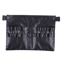 Hot Selling Black leather case Professional Cosmetic Makeup Brush Apron Bag Artist Belt Strap Holder Makeup
