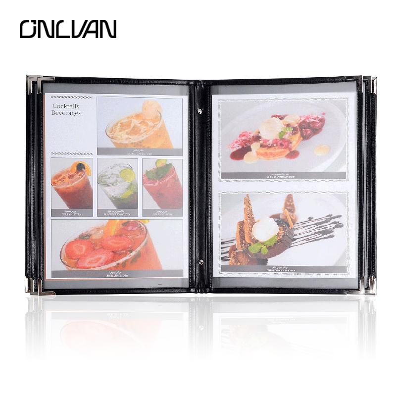 ONLVAN Restaurant Menu Covers PU Leather Menu Holders Luxury Coffee Bar List Folders Classics Advertisement Display Accept OEM pu leather menu holder restautant menu covers custom leather folders pvc page with high quality accept customized order