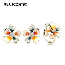 Blucome Colorful Flower Jewelry Sets Enamel Stud Earrings Gold-color Adjustable Rings Crystal French Hooks Brincos Wedding Ring(China)