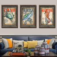 Sea 3 Pcs Sea Turtles Crab Hippocampus Pictures Decoration Canvas Painting Wall Art Print Living Room