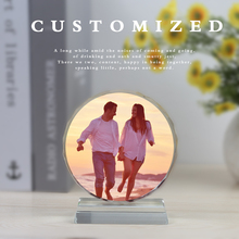 Personalized Crystal Frame Diy Customized Round Baby Photo Frames Valentines Birthday Gift Weeding Home Tabletop Decor