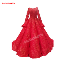 2771 Red Wedding Dress For Long Sleeve Embroidery