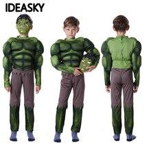 Новогодний карнавальный зеленый костюм «Невероятный Халк»; костюм для Хэллоуина для детей; Детский карнавальный костюм для мальчиков