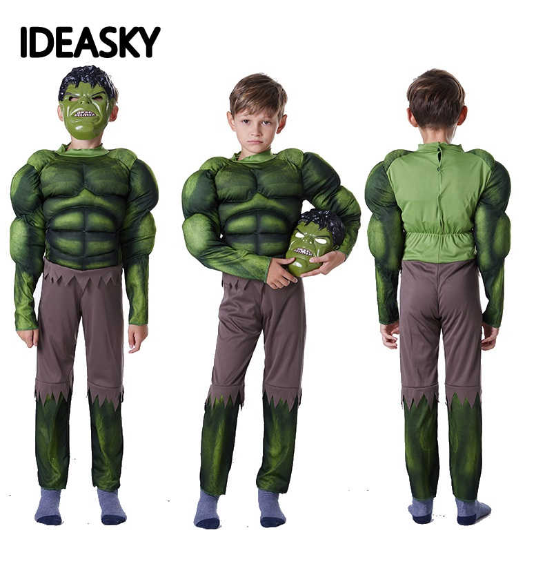 new year carnival green the incredible hulk costume endgame muscle halloween costume for kids boys children cosplay