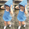 Newborn Baby Girls Infant Hooded Denim Overalls Girls Clothes Outfits 0-4Yrs Blue Children Overalls