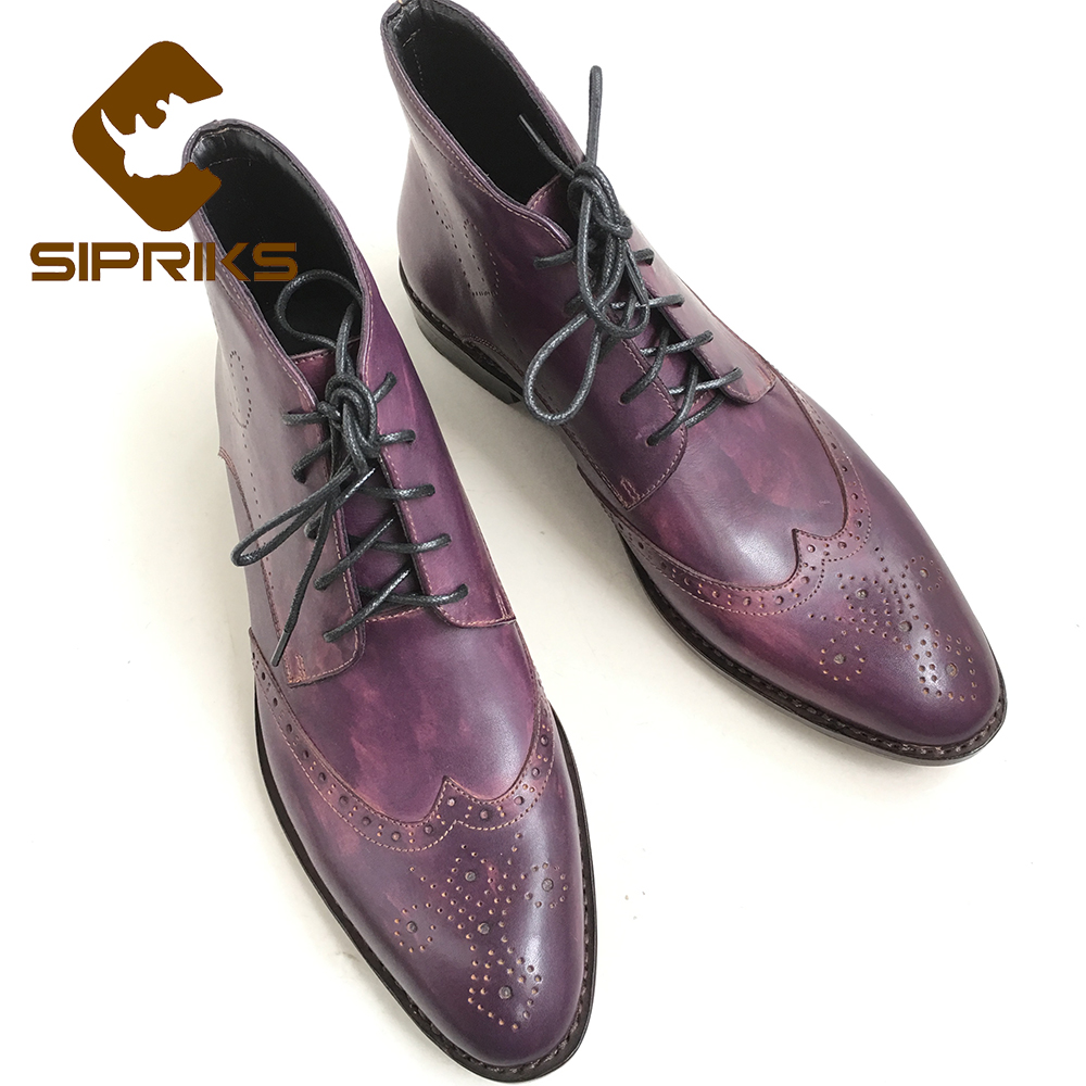 Sipriks 37 45 Male Sewing Welted Boots Purple Mens Dress Boots Hipster Patina Leather Grooms Wedding Boots Mens Wingtip Shoes